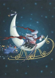 NEW TOLAND PAPER D'ART FLAG CONTEMPORARY CHRISTMAS SANTA SLEIGH RIDE 12.5 x 18