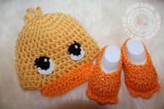 Duck Baby Crochet Hat Baby Booties 0 to 3 by SweetnessInSmyrna, $37.99