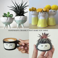 Vases with faces, handmade pottery, ceramics with faces Concrete Planters, Planter Pots, Hip Hip, Handmade Pottery, Make You Smile, Vases, Make It Yourself, How To Make, Diy