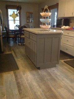 Island Painted Dior Gray By Benjamin Moore Floor Is Weathered Timber Porcelain Tile That Looks