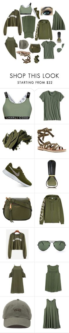 """""""GREEN"""" by morgan2017 ❤ liked on Polyvore featuring Charli Cohen, Patagonia, Bobbi Brown Cosmetics, Lucky Brand, NIKE, Oribe, Marc Jacobs, Kenzo, Ray-Ban and Gap"""