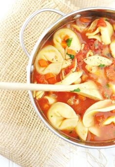 Vegetarian Cheese Tortellini Soup, this was pretty good and a very easy recipe. It was a little too strong with all the vegetable broth, I think either I will make my own broth or put in half the vegetable broth and then do water for the rest.