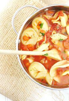 Speedy Vegetarian cheese tortellini soup