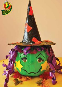 Duck Tape® Witch #halloween #craft #ducktape #pumpkin #pumpkindecorating