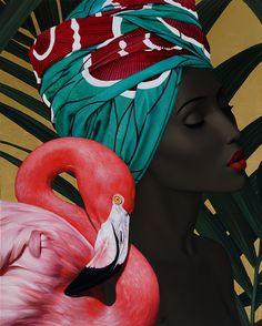 "Slava Fokk""Flamingo""-30x25'(76x63cm)oil on canvas,gold leaf-2016"