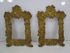 2 Vintage Victorian Style Pressed Brass Picture Frame Fronts for Projects
