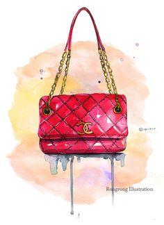 Ilustración de moda chanel bolso Chanel por RongrongIllustration