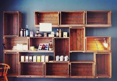 Box and Crate Shelves / via Justina Blakeney wine crates, fruit boxes Crate Shelves, Wire Shelves, Box Shelves, Crate Storage, Interior And Exterior, Interior Design, Home Organization, Organizing Ideas, Home Projects
