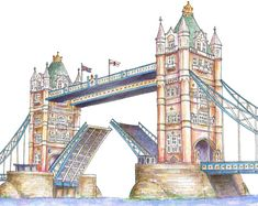Signed & Mounted Illustrated Print of the Tower Bridge of London. by inky isles ; London Illustration, Watercolor Illustration, Bridge Drawing, Famous Saints, London Drawing, Tower Bridge London, London Landmarks, St Cuthbert, London Art