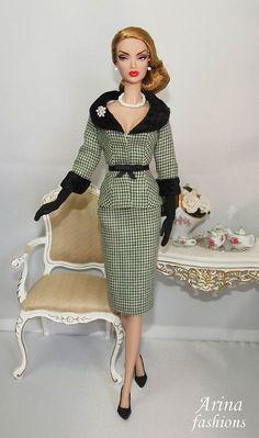 Barbie in classic tweed and velvet.