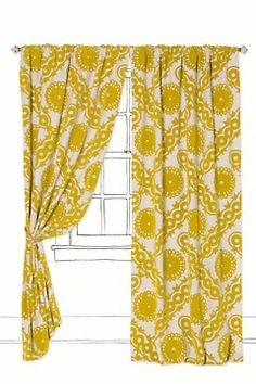yellow curtains - this would look awesome with light gray walls!