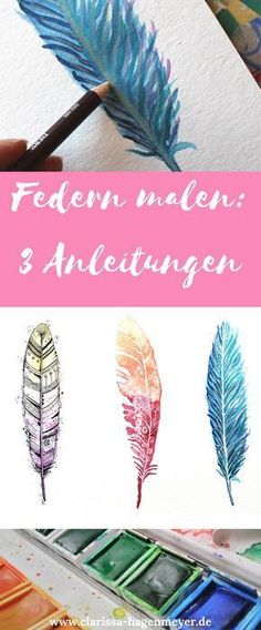 Federn malen Anleitung: Erstelle drei verschiedene Federn mit Aquarell und Stift… Paint feathers Instructions: Create three different feathers with watercolor and pencils, very easy! Also for beginners! Feather Painting, Diy Painting, Painting & Drawing, Tutorial Paint, Dog Pen, Art Watercolor, Happy Paintings, Wow Art, Simple Art