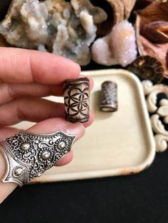Röötz - SET OF 2 Dreadlock beads sacred geometry tribal dread beads hair beads beads hippie hair accessories festival bohemian clay beads