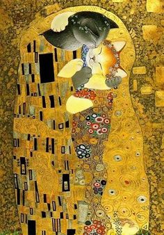 "Garanci Art e Design Pintura: 'The Cat Kiss' by artist Anna Wischin (inspired by ""The Kiss by Gustav Klimt"")♥ Gustav Klimt, Klimt Art, Illustrations, Illustration Art, Arte Pop, Cat Drawing, Oeuvre D'art, Crazy Cats, Cool Cats"