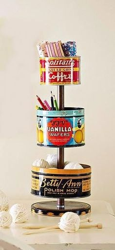 DIY Vintage Tin Craft Organizer TUTORIAL Vintage tins can be found at flea markets and online auction sites for as little as 1 each bhg Vintage Diy, Vintage Crafts, Vintage Sewing, Vintage Craft Room, Vintage Coffee, Vintage Market, Vintage Decor, Craft Organization, Craft Storage