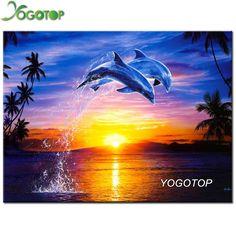 YOGOTOP DIY 5D Diamond Mosaic Dolphins Full Diamond Painting Cross Stitch Kits Square Diamonds Embroidery Home Decoration SD059 #Affiliate