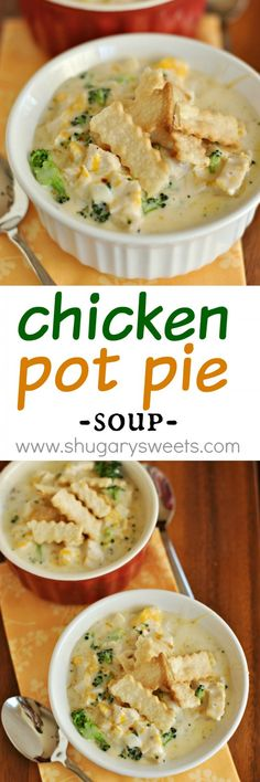 Chicken Pot Pie Soup recipe: a delicious soup that is on your table in 30 minutes! #pillsburypiecrust Broccoli, Cheese, and more!