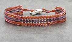 Herringbone Bracelet Seed Bead Jewelry Beadwork Bracelet Beaded Bracelet by BeadfulStrings on Etsy https://www.etsy.com/listing/117761709/herringbone-bracelet-seed-bead-jewelry