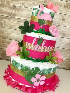 Tropical Diaper Cake, Aloha Baby Shower Centerpiece, Tropical Baby Shower Decor for Girls - Cupcake Baby Shower Ideen Baby Shower Food List, Baby Girl Shower Themes, Baby Shower Diapers, Baby Boy Shower, Baby Shower Gifts, Diaper Shower, Baby Gifts, Diaper Cake Centerpieces, Baby Shower Centerpieces