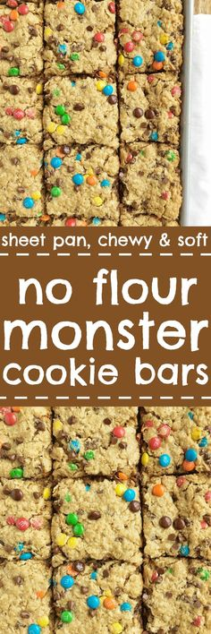 No flour monster cookie bars - Loaded with peanut butter, oats, chocolate chips, m&m's. These no flour monster cookie bars bake on a sheet pan and are the most delicious cookie bar you'll ever have. Plus, there is NO FLOUR! My most popular recipe that eve