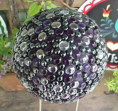 Seraphinas Artworks.....Bowling Ball Art...Named Purple Delite.....SOLD