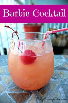 Barbie Cocktail Recipe Ingredients •Ice •1.5 oz of vodka •1.5 oz of Orange Juice •1.5 oz of Cranberry Juice •1.5 oz of Malibu Rum Mango •Maraschino Cherries Instructions 1.Fill you shaker with ice. 2.Add the rum, orange juice, vodka, cranberry juice 3.Cover the shaker — shake shake shake 4.Pour the drink over ice – add a couple cherries and enjoy!