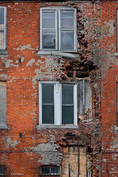Windows on an abandoned building near Niagara Falls.