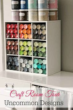 45 Organization Hacks To Transform Your Craft Room Turn that messy studio into a masterpiece with these tips and tricks. - 45 Organization Hacks To Transform Your Craft Room Craft Paint Storage, Paint Organization, Organization Ideas, Craftroom Storage Ideas, Office Storage Ideas, Spray Paint Storage, Acrylic Paint Storage, Craft Room Shelves, Scrapbook Room Organization