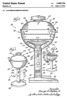 1972 - Gas Fired Barbecue Kettle - BBQ - G. A. Stephen, Jr. - Patent Art Poster