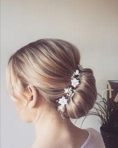 Beautiful bridal updo with a handmade porcelain headpiece Bridal Updo, Wedding Updo, Bridal Hair Accessories, Updos, Headpiece, Porcelain, Detail, Handmade, Beautiful