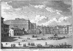 The caption below the etching says Piazza Palestrini o Barberini, because the Barberini had the title of Princes of Palestrina, a town in the Roman countryside.   In the right lower corner of the plate Vasi shows an obelisk which was not in the square, but near the entrance to Palazzo Barberini. The obelisk was found in 1570 outside Porta Maggiore in an area which was part of a residence built by Emperor Heliogabalus; in 1633 it was relocated to Palazzo Barberini by order of Pope Urban VIII.