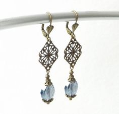 Blue Crystal Antique Brass Earrings Downton by connectionsbymaya, $26.00