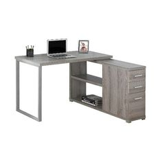 Computer Desk with Facing Corner ($310) ❤ liked on Polyvore featuring home, furniture, desks, dark taupe, colored furniture, home storage furniture, storage furniture and storage desk