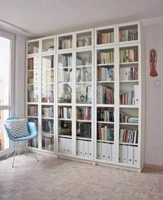 library, living room, Ikea bookcases and two cozy chairs……. Ikea her… Interior, Home, Bookcase With Glass Doors, Rooms Home Decor, Billy Bookcase, Billy Bookcase Hack, Bookcase, Ikea Bookshelves, Ikea Bookcase
