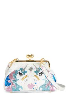Mind, Body, and Carousel Bag by Irregular Choice - White, Multi, Print with Animals, Kawaii, Faux Leather, Woven, Glitter