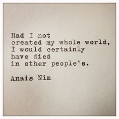 Anais Nin Quote Made on Typewriter and Framed. $12.00, via Etsy.
