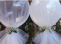 Balões com tule do IG @ideiasdebolosefestas, super #tendencia Ainda vou gravar um vídeo ensinando vocês a fazerem esses balões com tule #QueridaData #BeijoTriplo Baloes by @boutique_balloons_melbourne