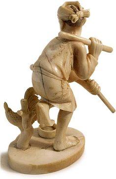 Japanese Meiji Carved Ivory Rootster Dancer Okimono