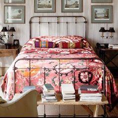 Vintage suzani bedspread. Bedroom by Charleston designer Amelia Handegan