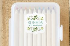 Botanical Crest Custom Name Labels by Jessica Will... | Minted