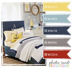 Color Crush Palette · Navy, yellow and red color palette Nautical Color Palettes, Nautical Colors, Red Color Schemes, Red Colour Palette, Color Combinations, Bedroom Red, Bedroom Decor, Design Seeds, Room Colors
