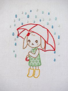 bunny with brolly embroidery - final finished | by Joey Ramone on Flickr