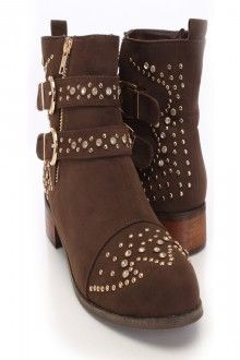 Brown Faux Suede Studded Accent Booties Save 90% http://couponssmart.com/store/?si=Ami-Clubwear