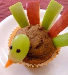 THANKSGIVING TURKEY MUFFIN: A simple assembly job for young children using fruity bits to make a muffin into a Thanksgiving turkey for tea. We found it at Parenting.com