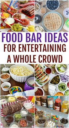 Enjoy this collection of food bar ideas for parties, get-togethers, and more, make your next meal customizable with a build your own dinner night. Burger Toppings, Burger Bar, Grilled Cheese Recipes Easy, Appetizer Recipes, Summer Recipes, Holiday Recipes, Party Food Bars, Bar Food, Potato Bar
