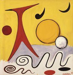 Calder - The Red T, Orange Disc, 1956 Oil on canvas Calder Foundation, NY A01256.1