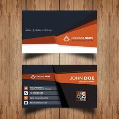 foncé et orange carte de visite Vecteur gratuit