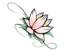Free designs - Colorful lotus with stem tattoo wallpaper