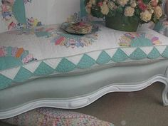 the quilt upholstery.........oh my..........have the perfect sofa for this WONDERFUL idea..........