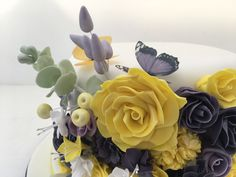Purple and yellow wedding cake with butterflies. Handmade flowers on a single tier wedding cake #purpleandyellowwedding #singletierweddingcake #weddingcakesmanchester Fondant Cake Toppers, Fondant Cakes, Butterfly Cakes, Butterflies, Beautiful Cakes, Amazing Cakes, Owl Cakes, Cake Decorating Classes, Coconut Bars